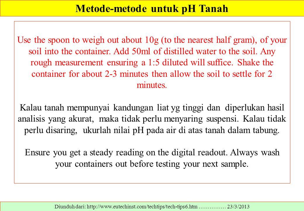 Metode-metode untuk pH Tanah