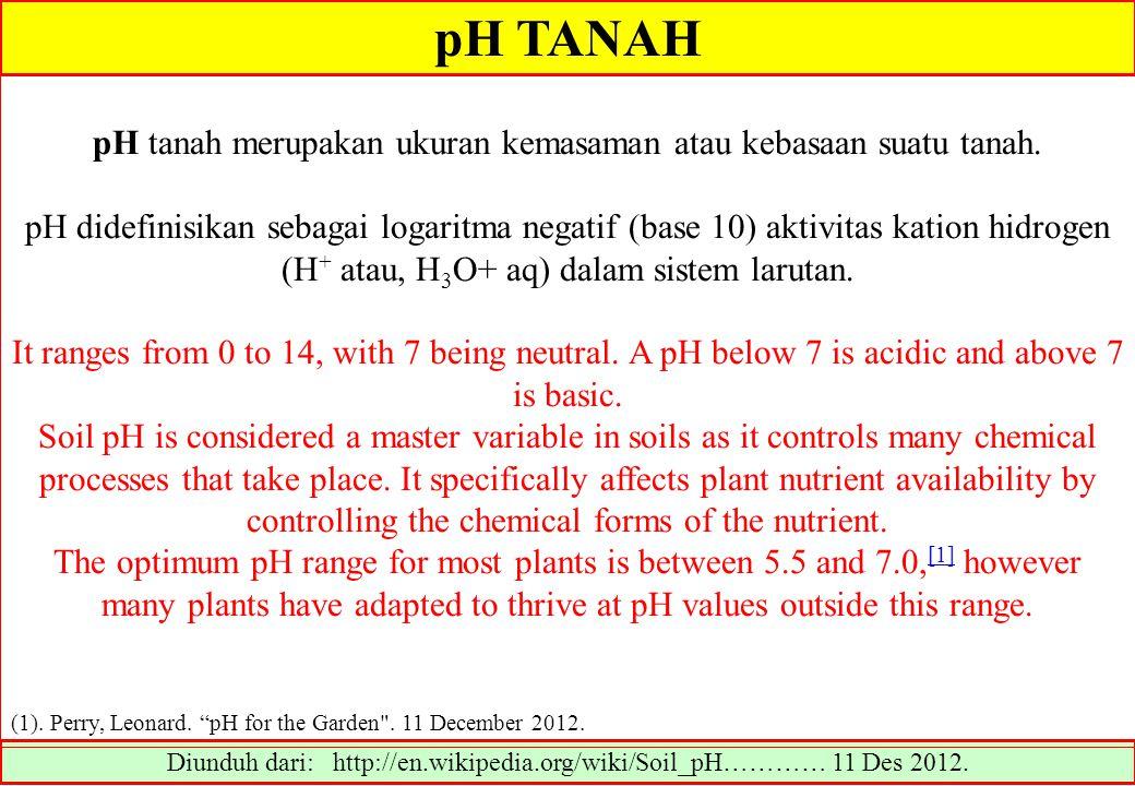 pH TANAH pH tanah merupakan ukuran kemasaman atau kebasaan suatu tanah.