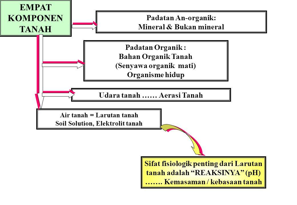 EMPAT KOMPONEN TANAH Padatan An-organik: Mineral & Bukan mineral
