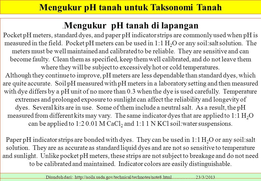 Mengukur pH tanah untuk Taksonomi Tanah