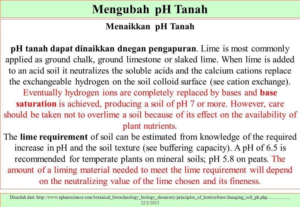 Mengubah pH Tanah Menaikkan pH Tanah