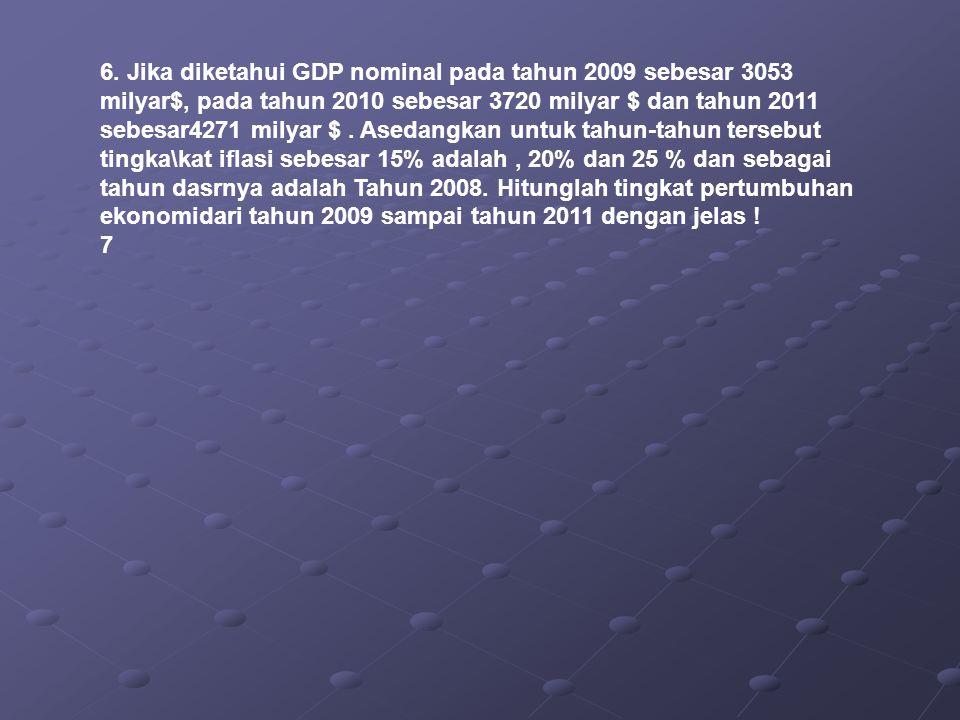 6. Jika diketahui GDP nominal pada tahun 2009 sebesar 3053 milyar$, pada tahun 2010 sebesar 3720 milyar $ dan tahun 2011 sebesar4271 milyar $ . Asedangkan untuk tahun-tahun tersebut tingka\kat iflasi sebesar 15% adalah , 20% dan 25 % dan sebagai tahun dasrnya adalah Tahun 2008. Hitunglah tingkat pertumbuhan ekonomidari tahun 2009 sampai tahun 2011 dengan jelas !