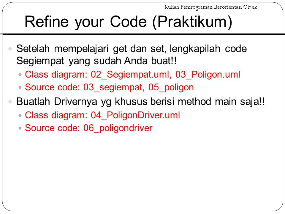 Refine your Code (Praktikum)