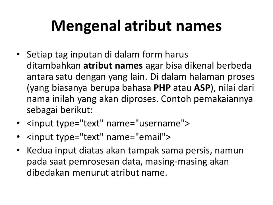 Mengenal atribut names