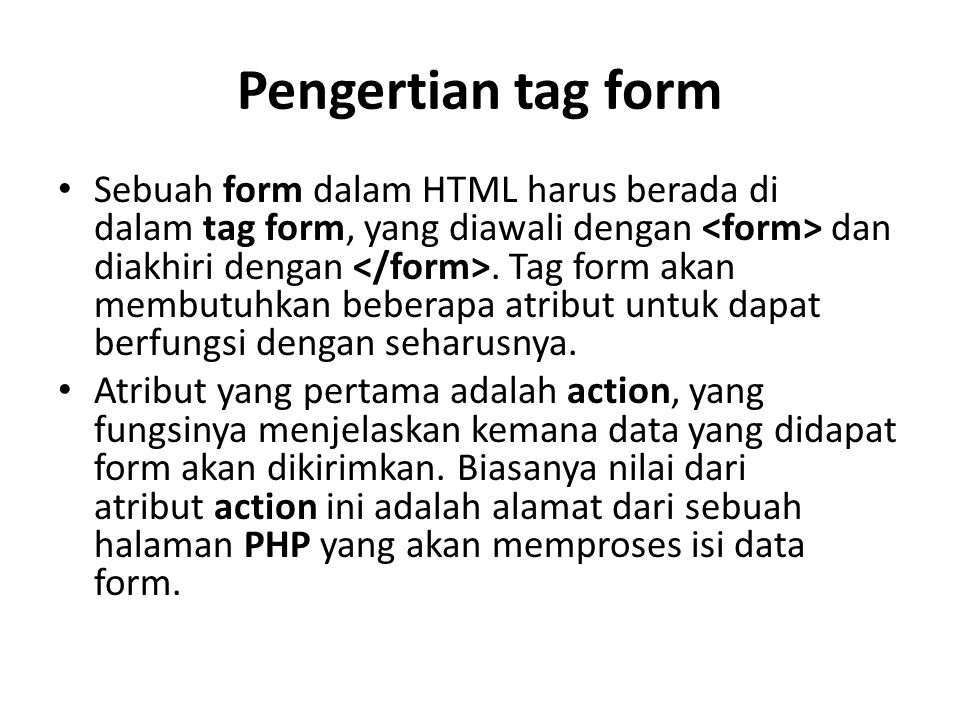 Pengertian tag form
