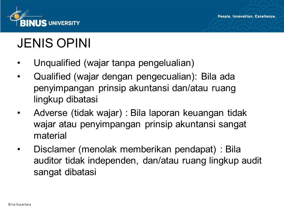 JENIS OPINI Unqualified (wajar tanpa pengelualian)