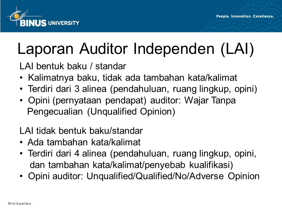 Laporan Auditor Independen (LAI)