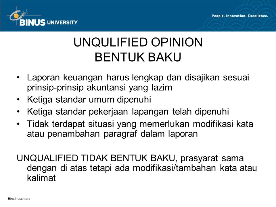UNQULIFIED OPINION BENTUK BAKU
