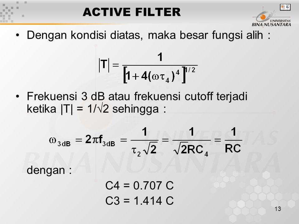 ACTIVE FILTER Dengan kondisi diatas, maka besar fungsi alih : Frekuensi 3 dB atau frekuensi cutoff terjadi ketika |T| = 1/2 sehingga :