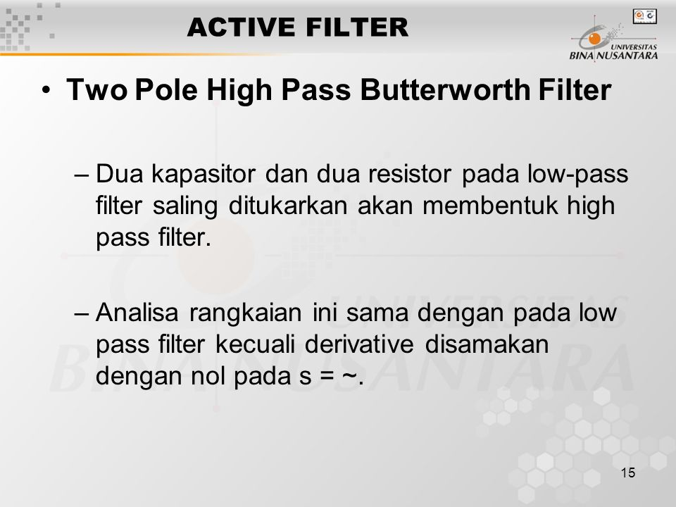 Two Pole High Pass Butterworth Filter