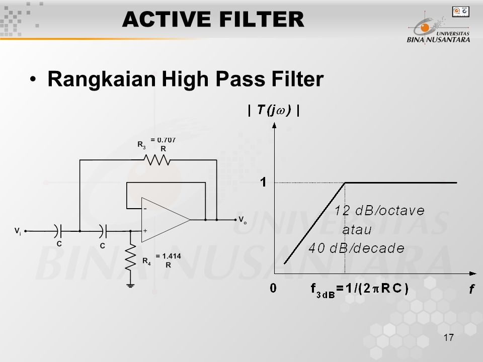 ACTIVE FILTER Rangkaian High Pass Filter