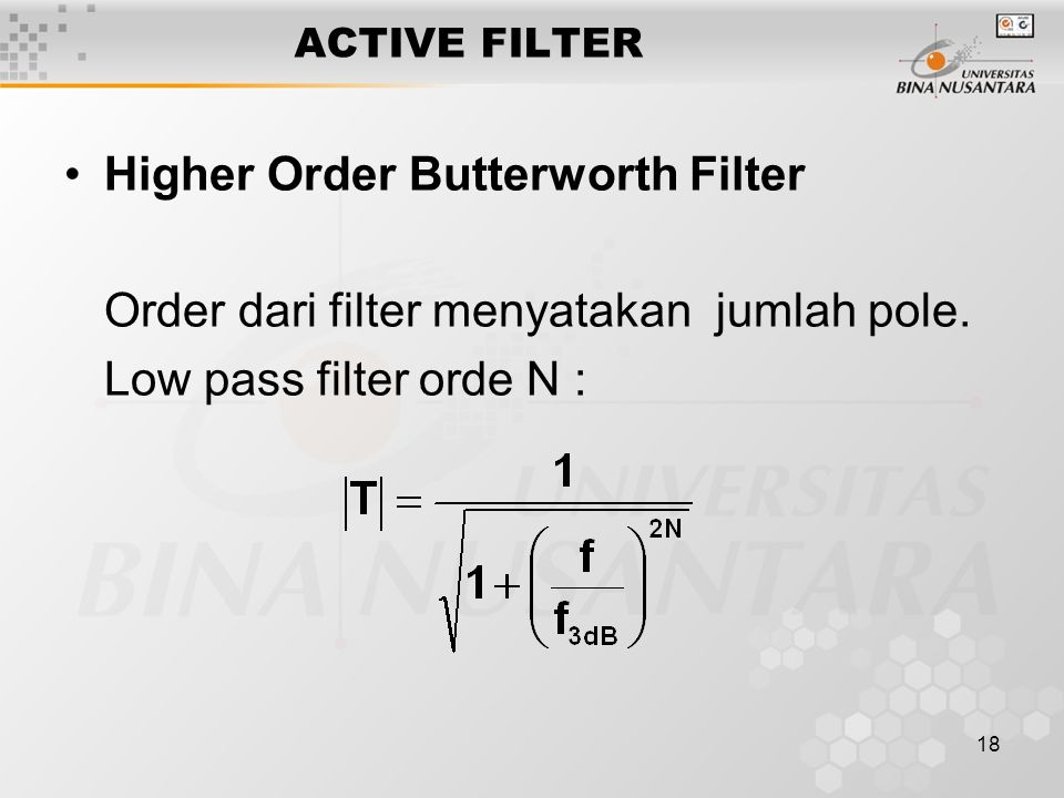 Higher Order Butterworth Filter