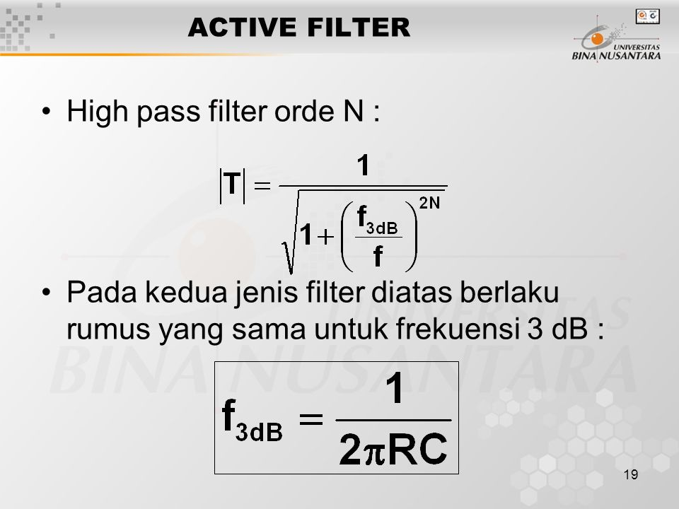 High pass filter orde N :