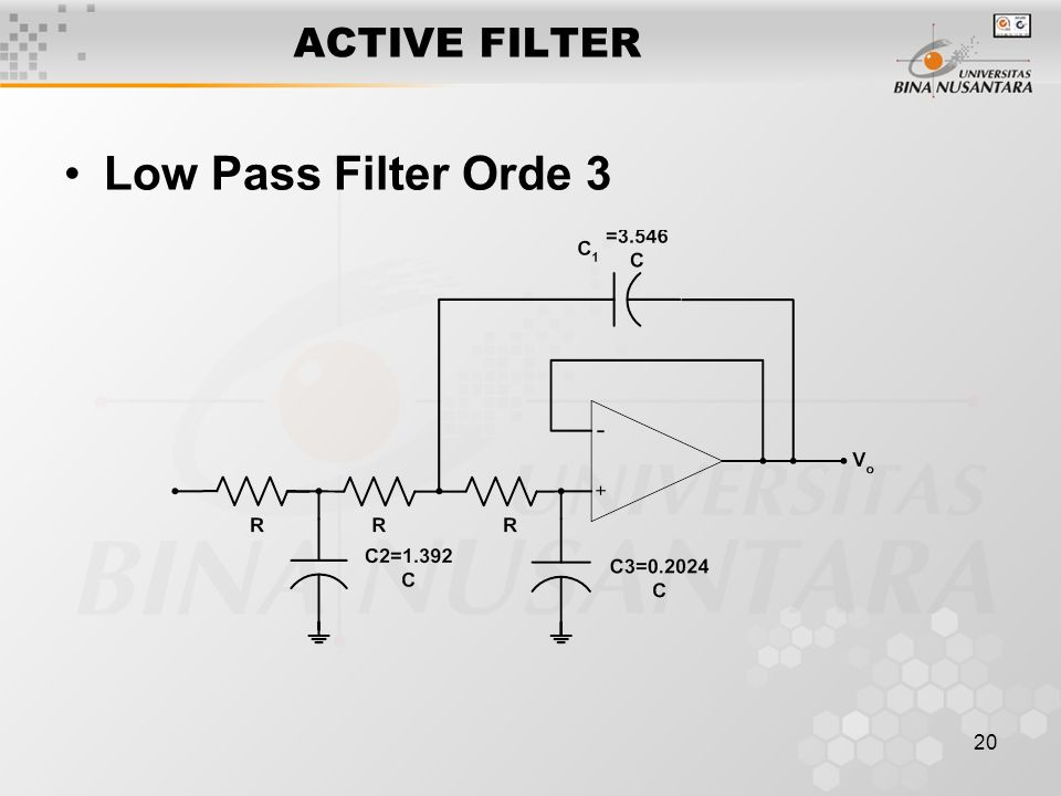 ACTIVE FILTER Low Pass Filter Orde 3
