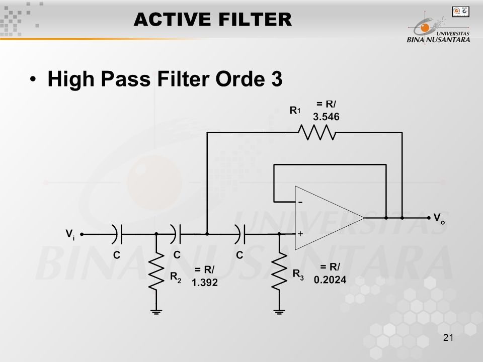 ACTIVE FILTER High Pass Filter Orde 3