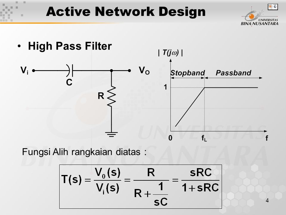 Active Network Design High Pass Filter Fungsi Alih rangkaian diatas :