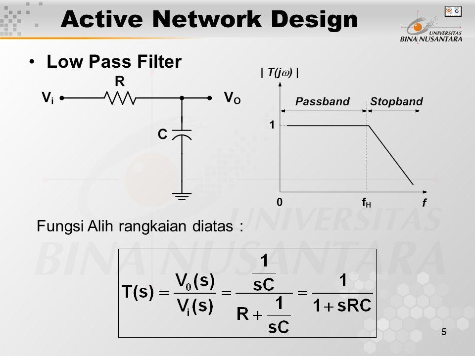 Active Network Design Low Pass Filter Fungsi Alih rangkaian diatas :
