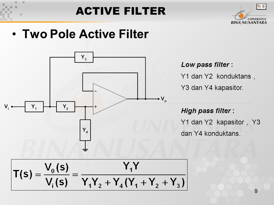 Two Pole Active Filter ACTIVE FILTER Low pass filter :