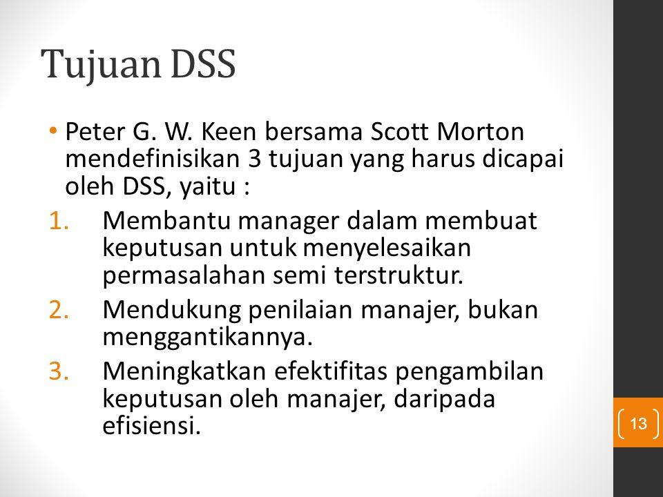 Tujuan DSS Peter G. W. Keen bersama Scott Morton mendefinisikan 3 tujuan yang harus dicapai oleh DSS, yaitu :