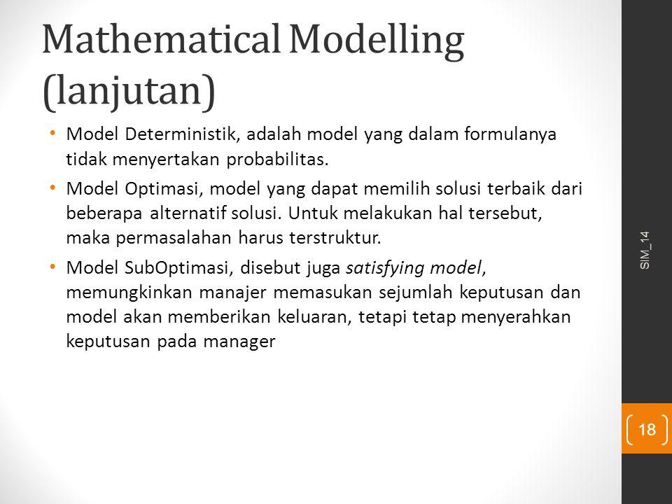 Mathematical Modelling (lanjutan)