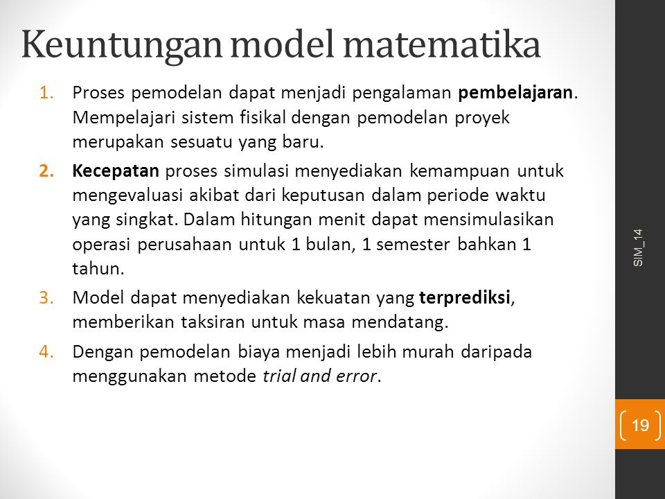 Keuntungan model matematika