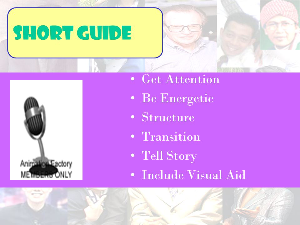 Short guide Get Attention Be Energetic Structure Transition Tell Story