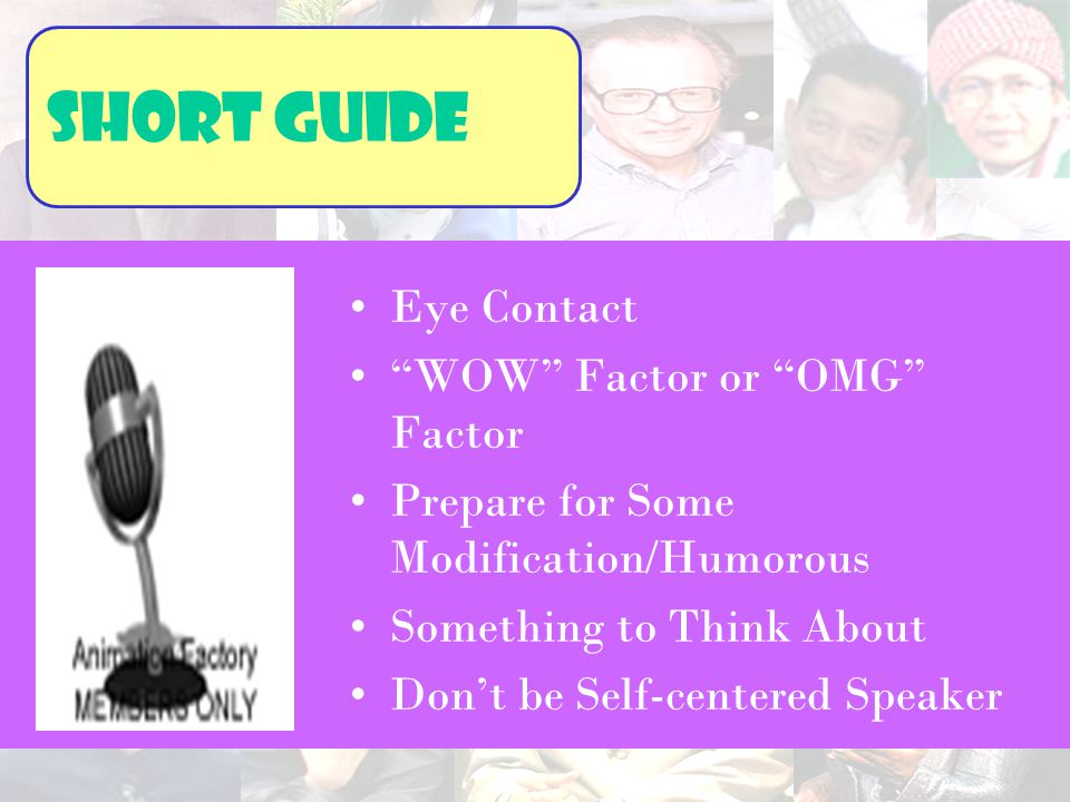 Short guide Eye Contact WOW Factor or OMG Factor