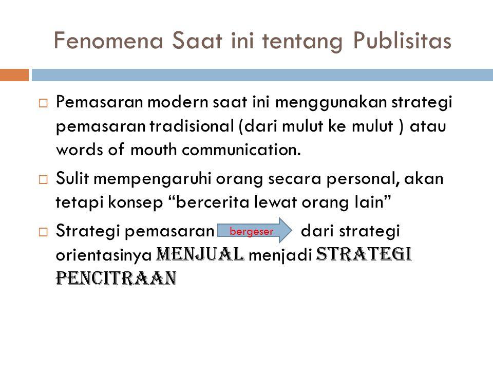Fenomena Saat ini tentang Publisitas