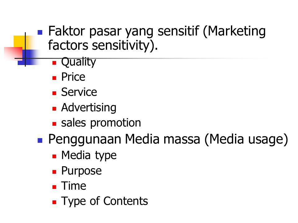 Faktor pasar yang sensitif (Marketing factors sensitivity).
