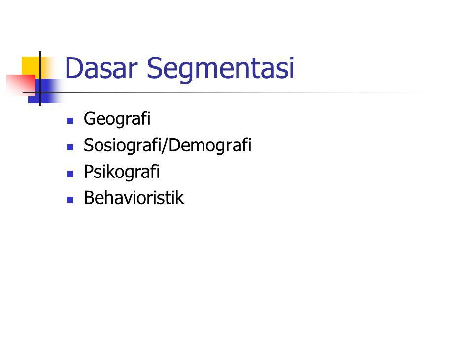 Dasar Segmentasi Geografi Sosiografi/Demografi Psikografi