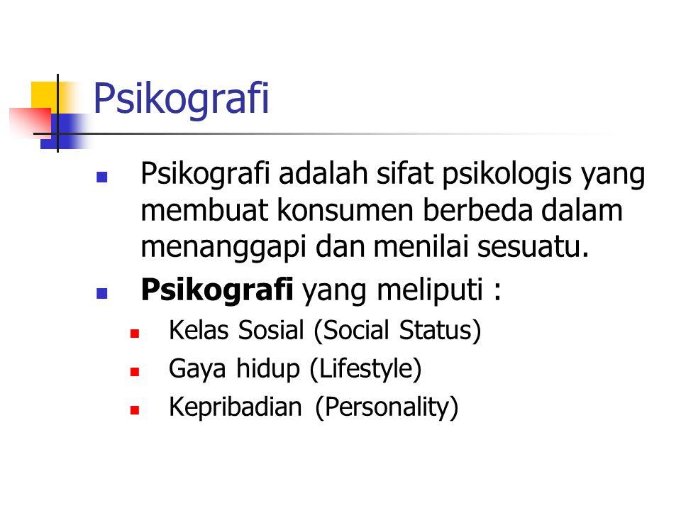 Psikografi Psikografi adalah sifat psikologis yang membuat konsumen berbeda dalam menanggapi dan menilai sesuatu.
