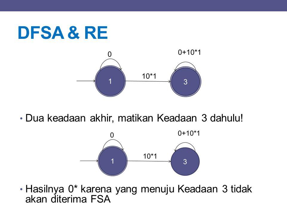 DFSA & RE Dua keadaan akhir, matikan Keadaan 3 dahulu!