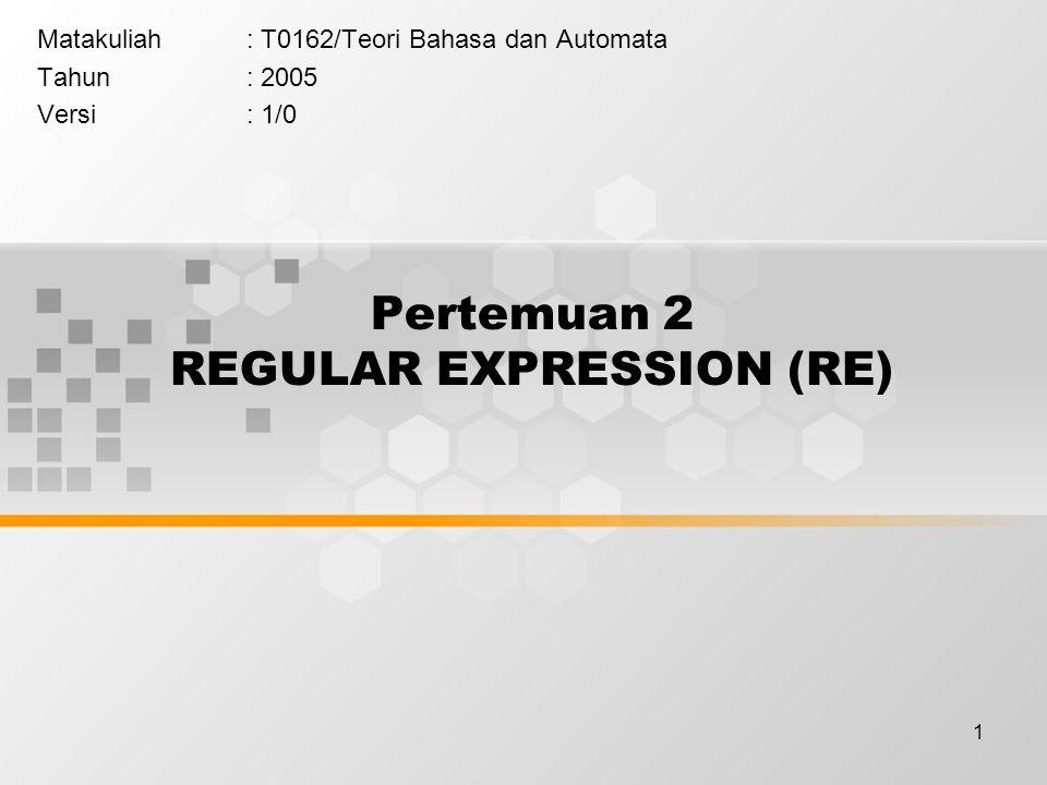 Pertemuan 2 REGULAR EXPRESSION (RE)
