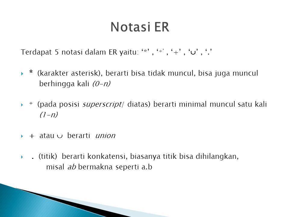 Notasi ER Terdapat 5 notasi dalam ER yaitu: '*' , '+' , '+' , '' , '.' * (karakter asterisk), berarti bisa tidak muncul, bisa juga muncul.