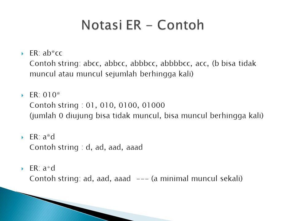 Notasi ER - Contoh ER: ab*cc