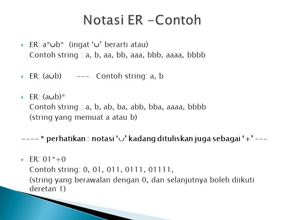 Notasi ER -Contoh ER: a*b* (ingat '' berarti atau)