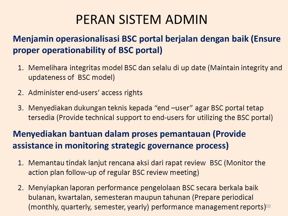 PERAN SISTEM ADMIN Menjamin operasionalisasi BSC portal berjalan dengan baik (Ensure proper operationability of BSC portal)