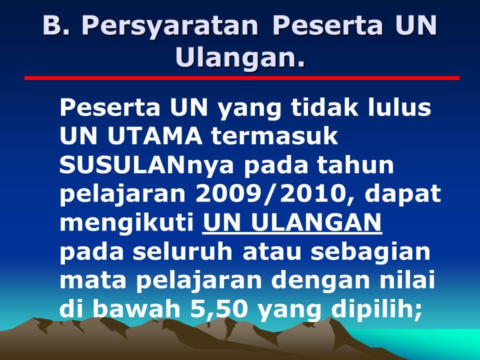 B. Persyaratan Peserta UN Ulangan.