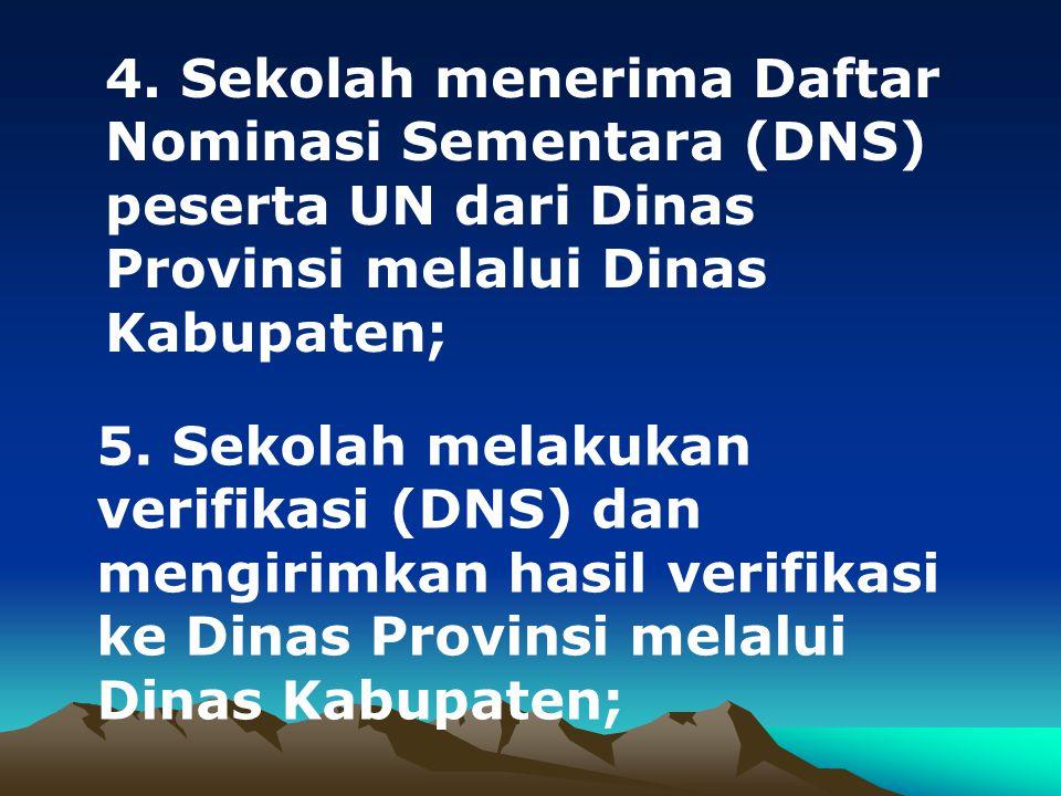 4. Sekolah menerima Daftar Nominasi Sementara (DNS) peserta UN dari Dinas Provinsi melalui Dinas Kabupaten;