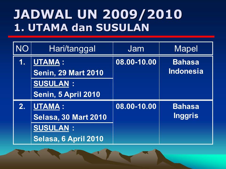 JADWAL UN 2009/2010 1. UTAMA dan SUSULAN