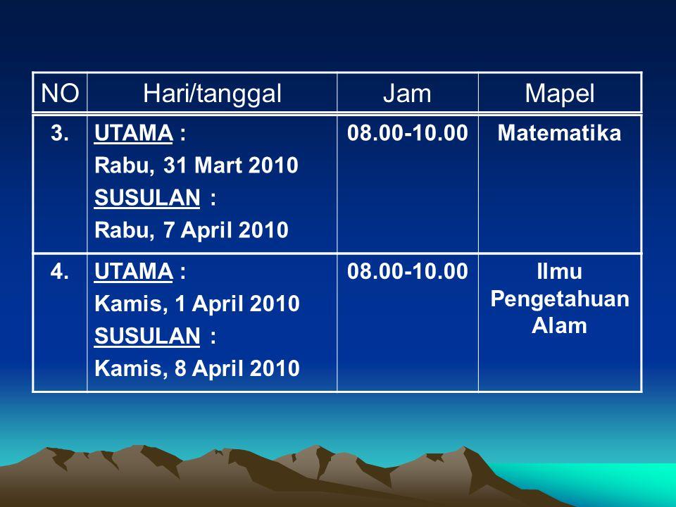 NO Hari/tanggal Jam Mapel 3. UTAMA : Rabu, 31 Mart 2010 SUSULAN :