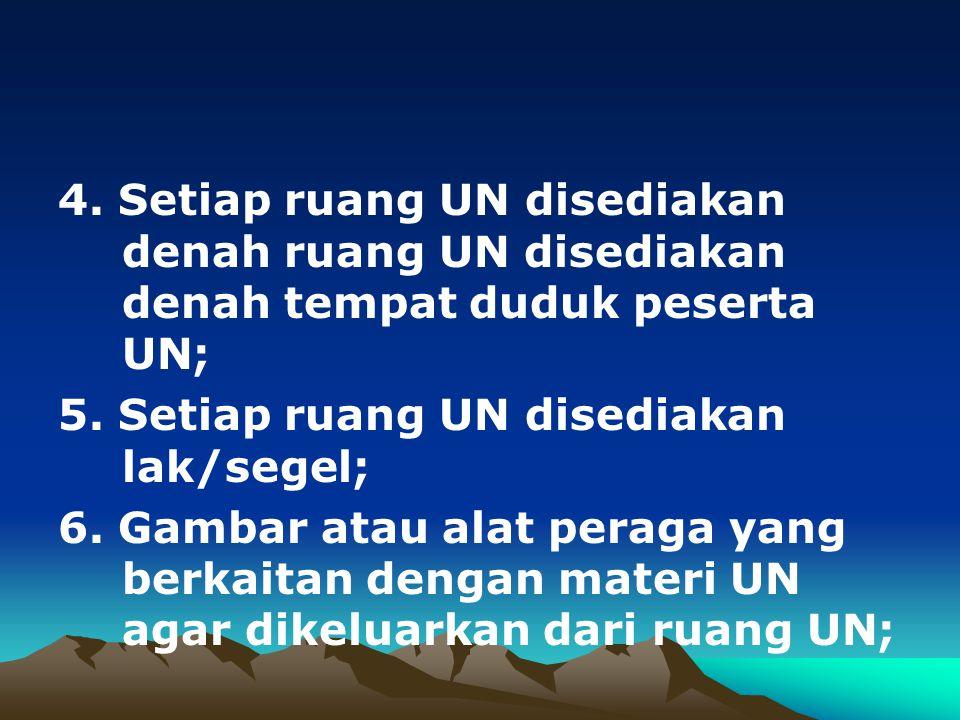 4. Setiap ruang UN disediakan denah ruang UN disediakan denah tempat duduk peserta UN;
