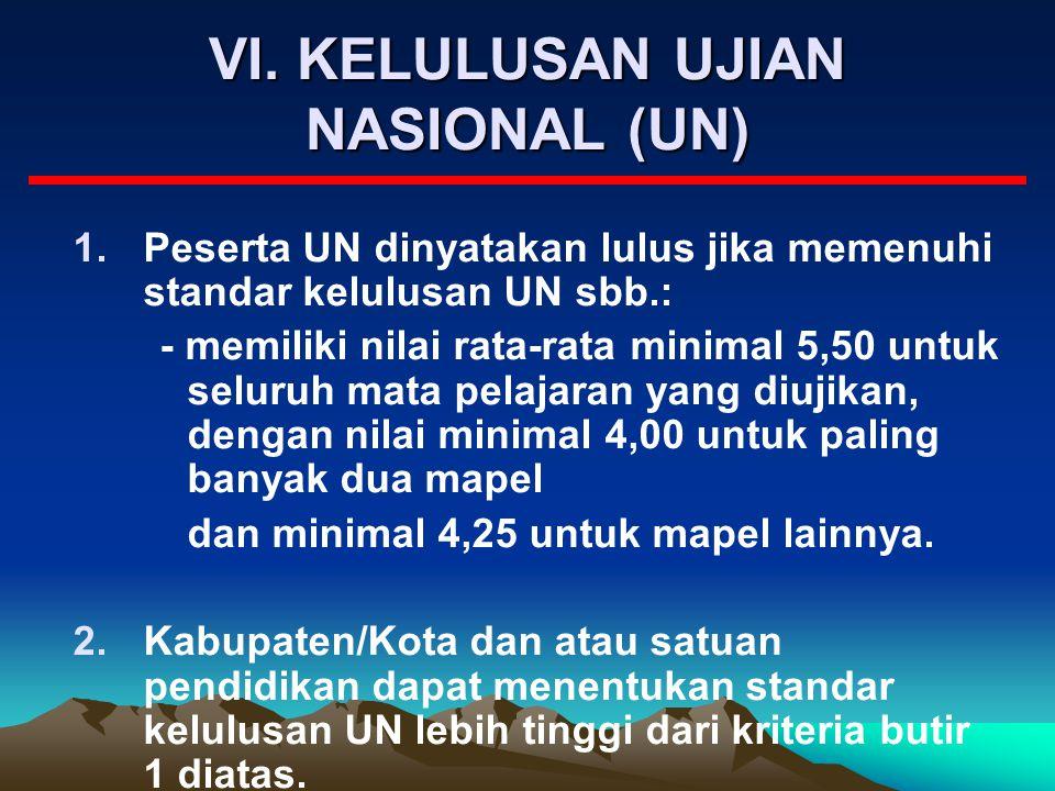VI. KELULUSAN UJIAN NASIONAL (UN)