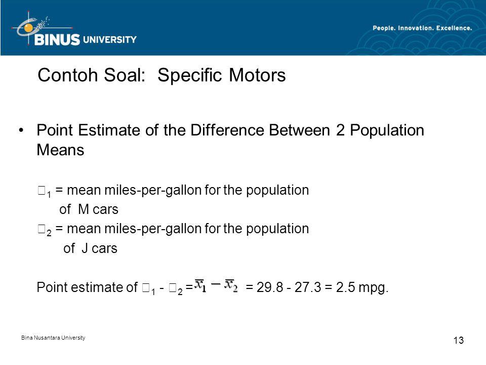 Contoh Soal: Specific Motors