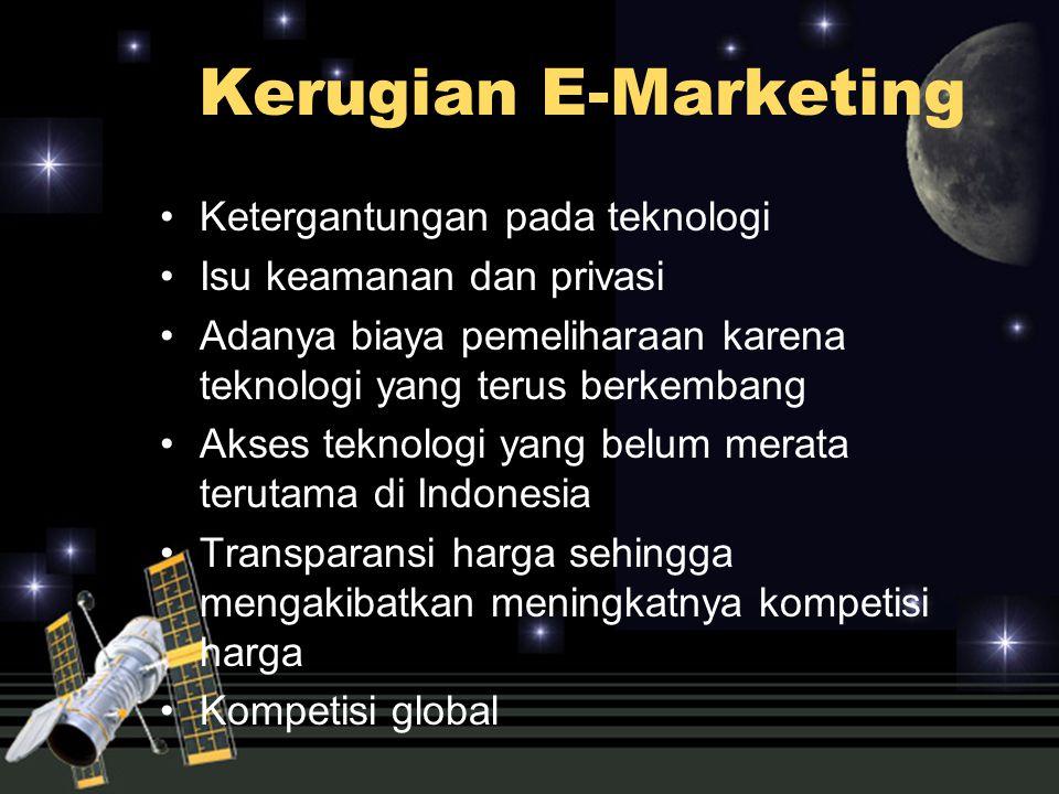 Kerugian E-Marketing Ketergantungan pada teknologi