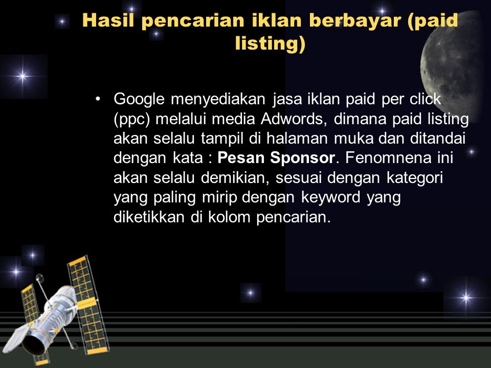 Hasil pencarian iklan berbayar (paid listing)