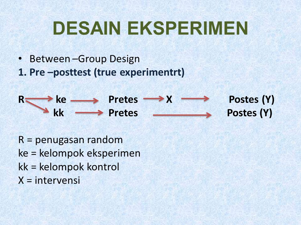 DESAIN EKSPERIMEN Between –Group Design