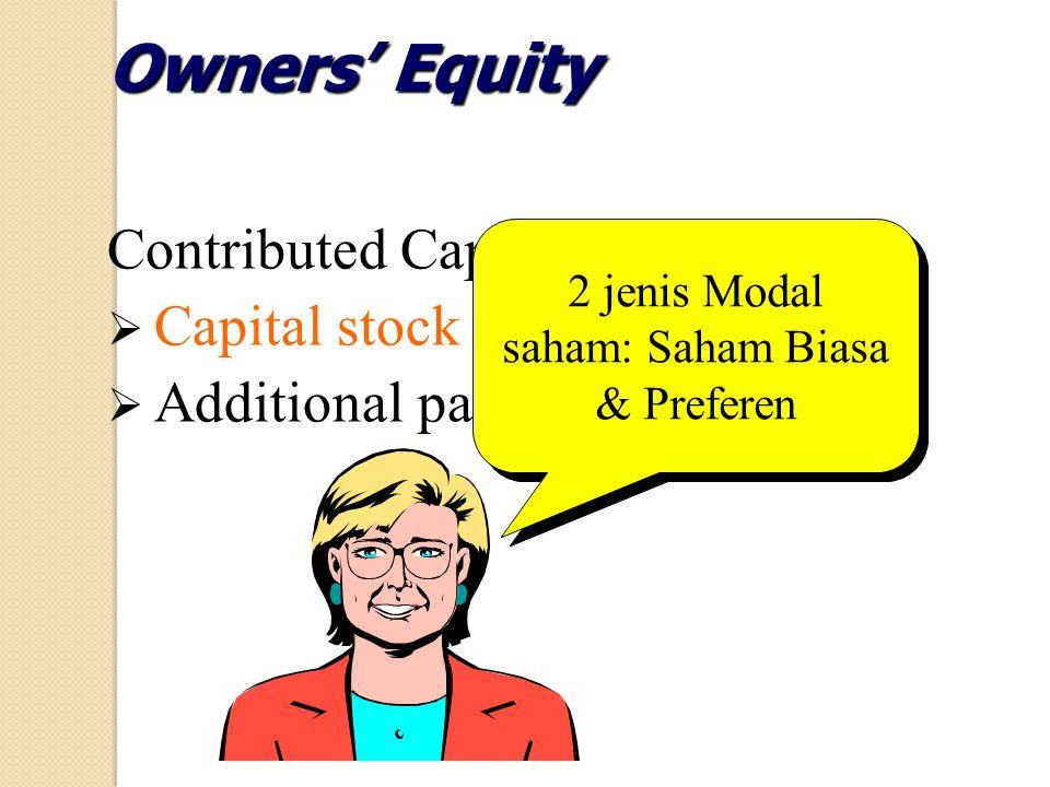 2 jenis Modal saham: Saham Biasa & Preferen