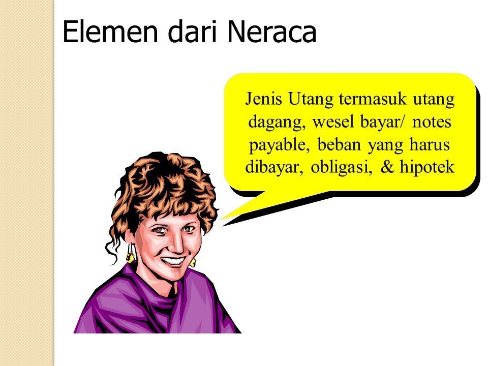 Elemen dari Neraca Jenis Utang termasuk utang dagang, wesel bayar/ notes payable, beban yang harus dibayar, obligasi, & hipotek.