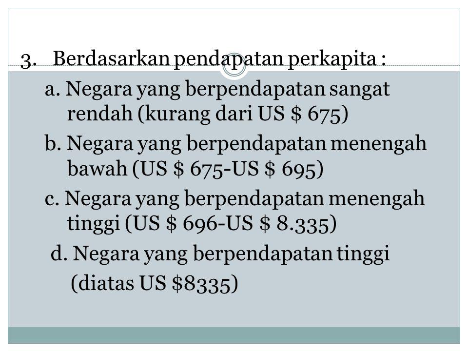 3. Berdasarkan pendapatan perkapita : a